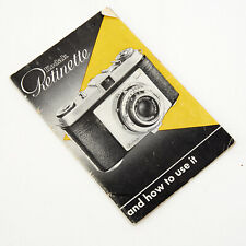 KODAK RETINETTE - Owner's Instruction Manual