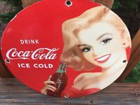 "Vintage Coca Cola Ice Cold Coke Heavy Porcelain Sign 12"" Soda Cola Sign"