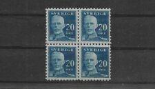 Block of 4 1920 Gustav V Sweden Stamps