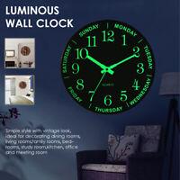 12 inch Luminous Silent Non Ticking Night Glow In the Dark Quartz Wall Clock