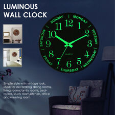 12 inch Luminous Silent Non Ticking Night Glow In the Dark Quartz Wall Clock