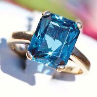 3Ct Brilliant Emerald Cut Blue Topaz Engagement Ring 14k Yellow Gold Finish