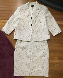 NWT Talbots Ivory w/ Black TWEED Suit JACKET & SKIRT Jackie Fit size 16 Petite