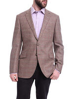 Napoli Slim Fit Brown & Red Check Half Canvassed Zegna Wool Cashmere Sportcoat