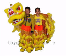 PUR Lion Dance Mascot Costume Pure Wool Southern Lion for Two Kids Advertising Yellow