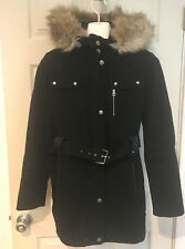 Laundry by Design Women Fur Trim Hooded Belted Wool Coat Sz Small