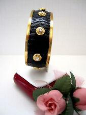 "Brighton ""JOPLIN NARROW"" Gold/Black Leather Cuff Bracelet (MSR$68) NWT/Pouch"
