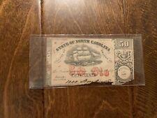 1864 50 Cents North Carolina Obsolete Currency Civil War Era