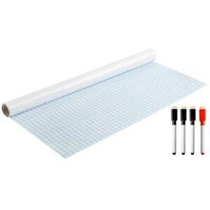 Tableau Blanc Adhésif Autocollant Whiteboard Effaçable 200 x 45 cm + 4 Marqueurs