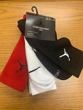 NIKE AIR JORDAN CREW BASKETBALL SOCKS LARGE 3 PAIR SX5545-011 Red Black White