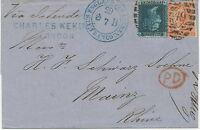 2427 1868 QV large white corner letters 4d vermilion Pl.9 ('EI') + 2d blue Pl.9