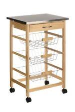 Premier Housewares 2403027 Carrello da cucina legno di Pino Piano in acciaio
