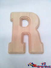 "Medium Oak Wood Alphabet Letter ""R"" Natural Brown Uppercase Home Decor Art Craft"