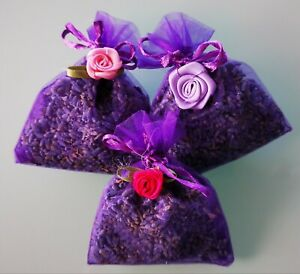 BLUE LAVENDER IN ORGANZA BAGS. THREE BAGS OF HIGH QUALITY LAVENDER FROM TASMANIA