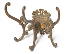 LARGE VINTAGE VICTORIAN BRASS WALL MOUNT TRIPLE HAT AND COAT HOOK
