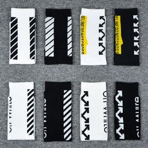 New Off White Short Diagonal Mens Women Cotton Tide Socks Stripe Black Socks 1PC