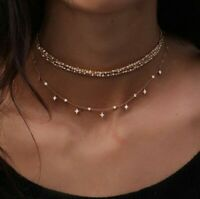 Boho Multilayer Choker Necklace Crystal Star Chain Gold Women Summer Jewelry