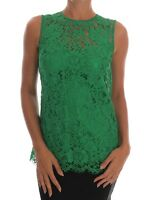 NEW $1360 DOLCE & GABBANA Blouse Green Floral Lace T-shirt Top IT38 / US4 / XS