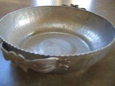 "Vintage FORGED ALUMINUM SERVING BOWL DISH 9"" diameter"