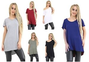 Ladies Plain High Low Dip Hem Baggy Top Womens Batwing Sleeve Oversized T Shirt