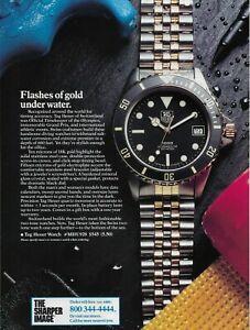 1989 Tag Heuer 18k Gold Highlight Watch Gran Prix Original Color Photo Print ad