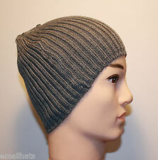 GRAY MEN WOMEN URBAN FITTED RIBBED TEXTURE KNIT WINTER BEANIE HAT CAP - GREY 1K2