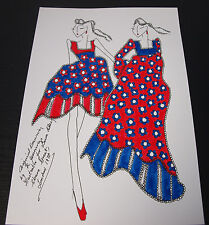 Roz Jennings Fashion Drawing Original Art Work Illustrator Laura Ashley 70s D28