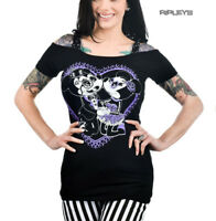 TOO FAST Clothing Goth Black Purple Heart DEVOTION Annabel Bow Top All Sizes