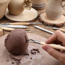 6x Wood Handle Wax Pottery Clay Modeling Sculpture Carving Tool DIY Craft Set TA