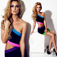 Womens Black Sexy Low Cut Out Party Clubbing Mini Bodycon Night Going Out Dress