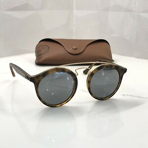 Ray Ban RB4256 6092/6G Reflective Havana Round Gatsby Sunglasses SMALL 46 MM