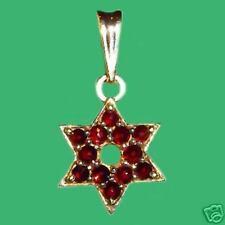 Bohemian Rose Cut Garnet 14K Solid Gold Star of David Pendant GP-559 Certificat