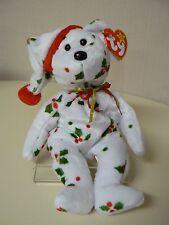 Ty Beanie Baby 1998 HOLIDAY TEDDY Bear Plush White with Mistletoe and Santa Cap