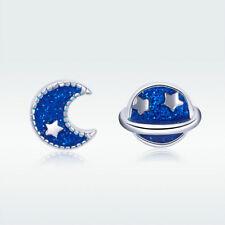 Moon & Sun Blue Enamel Women Jewelry Hot Sale S925 Sterling Silver Stud Earrings