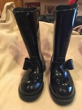 VALENTINO RED V BOW BLACK RAIN BOOTS SIZE 37   USED no box