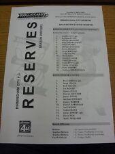 06/03/2003 Birmingham City Reserves v Manchester United Reserves  (Single Sheet)