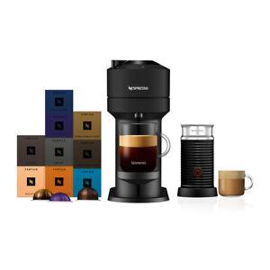 Nespresso Vertuo Next Matt Black Silver Coffee Machine & Aeroccino3 +90 Capsules
