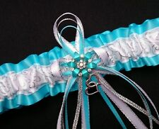 Handmade Turquoise Silver White GARTER Prom Wedding Bridal Cosplay Pin Up Girls