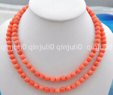 "Beautiful 8 mm natural pink coral bead necklace knotted 36"" JN1110"