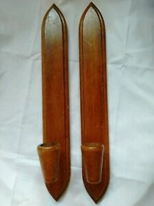 2 HODA Wooden Candle Wall Sconces Mid Century Modern Danish Taper Votive Holder