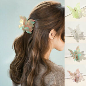 Super Fairy Butterfly Shaped Hair Clip Claw Crab Women Barrette Acetate Hairpin