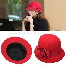Vintage Rouge Chapeau Bonnet Fleur Style Cloche Pr Femme Fille Céremonie Fête