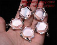 10ea Hexagon Pendant - Natural Clear Quartz Crystal 3D Hexagon / Star of David