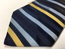 Tommy Hilfiger Mens Necktie Purple Blue Yellow 100% Silk Striped Pattern Tie 8X