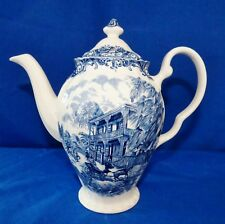 MINT JOHNSON BROTHERS HERITAGE HALL FRENCH PROVINCIAL VIEUX BLUE COFFEE/ TEAPOT