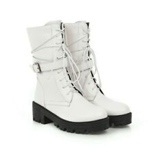 Women's Round Toe Ankle Boots Chunky Heels Platform Lace Up Buckle Punk Shoes