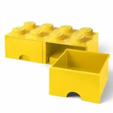 LEGO BRICK STORAGE BOX 8 WITH 2 DRAWERS STACKABLE BLOCKS KIDS - YELLOW