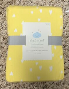 Cloud Island Unisex Fitted Yellow Heart Standard 100% Cotton Crib Sheet -
