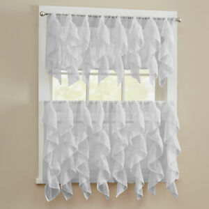 Sheer Voile Vertical Ruffle Window Kitchen Curtain Tiers or Valance Silver