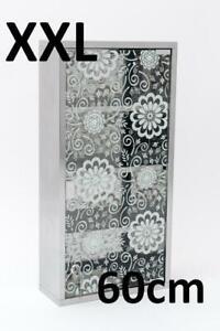 DESIGN Medizinschrank Arzneischrank Edelstahl Glas XXL 60cm Motiv BLUMEN Floral